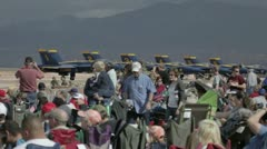 Airshow crowd Navy Blue Angel aircraft P HD 9213 Stock Footage