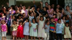 Group of Orphans Waving in Honduras Stock Footage