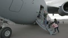 USAF C17 Globemaster tourist unload fast P HD 9199 Stock Footage