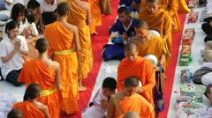 Mass Alms Giving in Bangkok Stock Footage