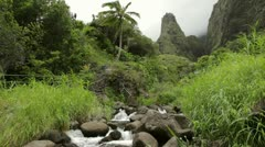 Iao Needle and Iao Stream, Maui, Hawaii Stock Footage