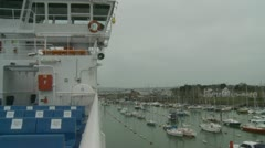 Ferry leaving port Lymington (two) Stock Footage