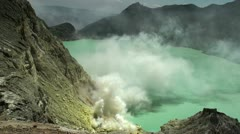 Volcanic lake and poisonous sulfur evaporation. Stock Footage