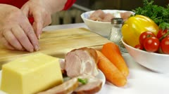 Food Preparation - Rolls of Chicken Breast Stock Footage