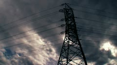 Power Line against sky 3 Stock Footage