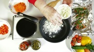 Food Preparation - Fried Onion in Frying Pan Stock Footage