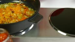 Mixing Vegetables In Frying Pan Stock Footage