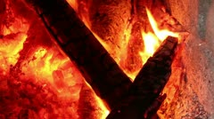 Fire burning at home to make warmth, firewood burning, - stock footage