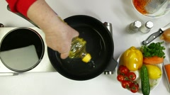 Food Preparation - Pouring Oil On Frying Pan Stock Footage