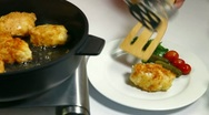 Food Preparation - Frying Chicken Breast Rolls Stock Footage