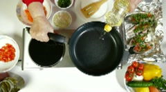 Pouring Oil On Frying Pan Stock Footage