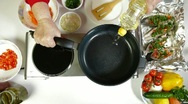 Stock Video Footage of Pouring Oil On Frying Pan