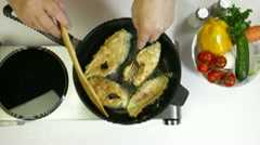 Fried Fish Preparation Stock Footage