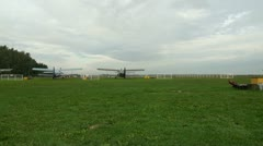 The AN-2 aircraft on the airfield Stock Footage