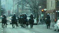 Riot Police On Horseback  HD  Urban Street Stock Footage