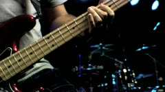 Bass Guitar Fretting Close Up HD Stock Footage