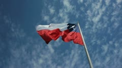 Huge Chilean flag blows in the wind Stock Footage
