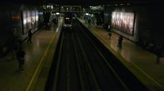 Metro trains stop at terminal in Santiago Stock Footage