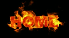 Fire home word,burning text. Stock Footage