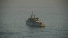 Chilean warship anchored Stock Footage