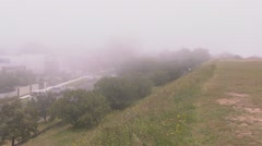 Fog covers parts of Sydney Harbour and the coast line PT5 Stock Footage