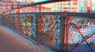 Stereoscopic 3D Helsinki 7 - Love Bridge in downtown Stock Footage