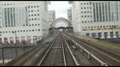 POV Time Lapse Rail Journey Through Canary Wharf Station Stock Footage