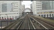 Stock Video Footage of POV Time Lapse Rail Journey Through Canary Wharf Station