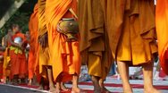 Stock Video Footage of Monk Mass Alms Giving in Bangkok