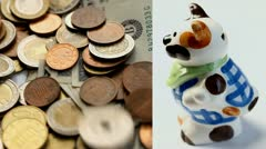 Money and Money Box Stock Footage