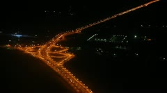 Night view on roads from the height - from flying aircraft - stock footage