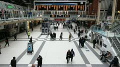 Liverpool Street Railway Station in London Stock Footage