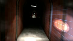 Panic run through a dark corridor Stock Footage