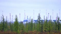 Gas processing plant in the forest Stock Footage