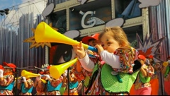 Kids with costumes sing during the Murga competition of the carnival Stock Footage