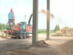 Equipment crush wood chip Stock Footage