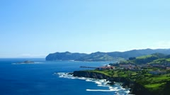 Beautiful Atlantic ocean coastline in Basque country, Spain. Stock Footage