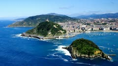 Aerial view to San Sebastian city, Basque, Spain. Stock Footage