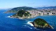 Stock Video Footage of Aerial view to San Sebastian city, Basque, Spain.