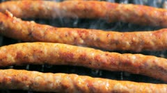 Tasty Sausages On The Summer Gril Stock Footage