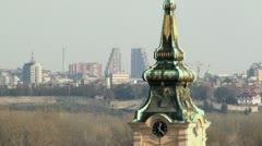 Tower, Belgrade in background Stock Footage