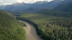 Beautiful river valley aerial - stock footage