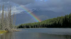 Rainbow Mountain Lake Stock Footage