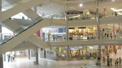Stock Footage - Mall Scene - Crowd - escalator - People walking and shopping Stock Footage