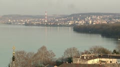 Belgrade, Dorcol, Danube river, panorama Stock Footage