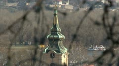 Barbed wire, Belgrade, tower Stock Footage