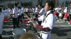 Latin marching band plays festive music (1 of 2) Stock Footage