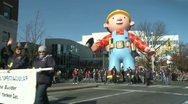 Stock Video Footage of Bob the Builder balloon at parade