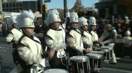 Stock Video Footage of Drumline perform at parade (3 of 5)