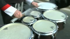 Closeup of drummers in marching band Stock Footage